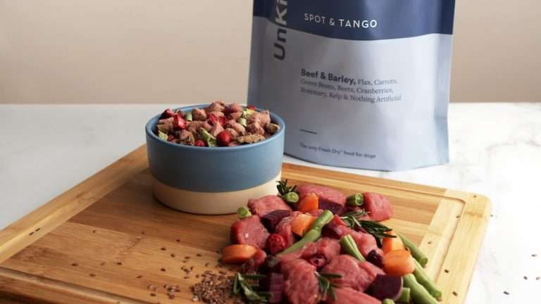 Spot and Tango's fresh ingredients on a cutting board
