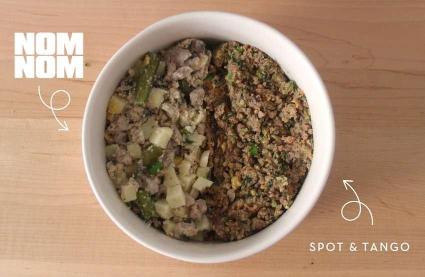 A bowl containing Nom Nom Now dog food vs Spot and Tango dog food